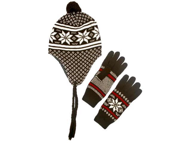 Brown White & Red Snowflake Tibetan Hat & Glove Set