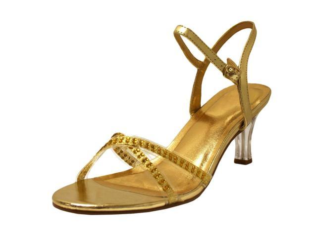 Gold Sandal Heels For Women With Rhinestones Size 7