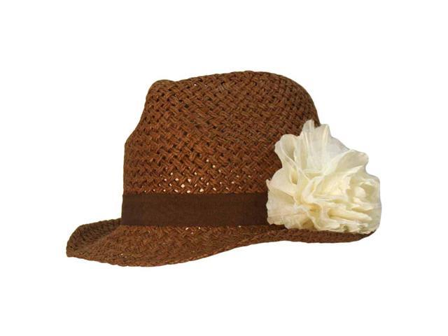 Brown Open Weave Fedora Hat With Rosette