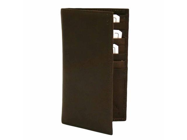 Brown Leather Mens Long Checkbook Holder Wallet