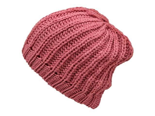 Pink Chunky Knit Tight Beanie Cap Hat