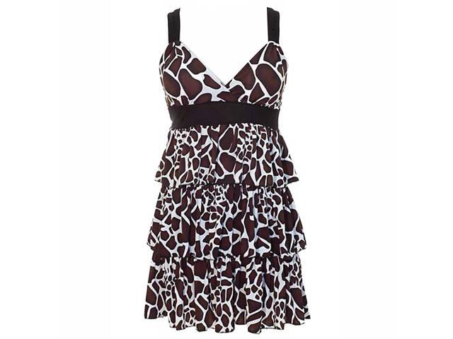 Brown Black & White Animal Print X-Back Layered Ruffle Dress Size Medium