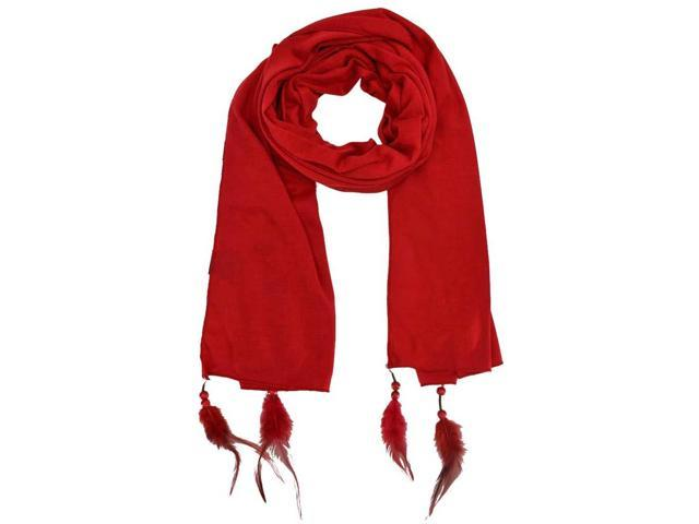 Red Long Neck Scarf Wrap With Feather Tips