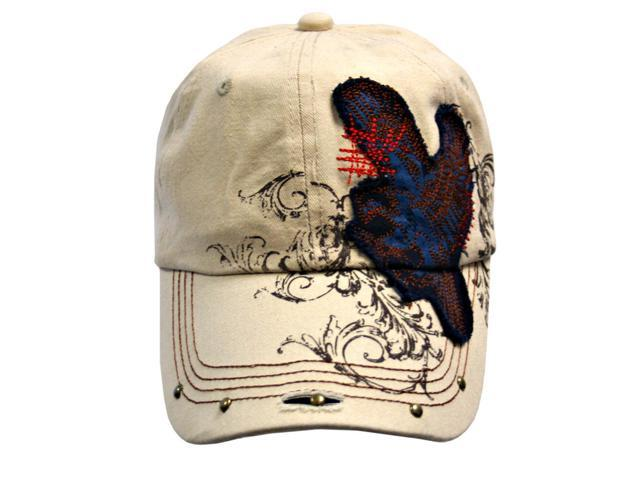 Tan Baseball Cap With Eagle Patch