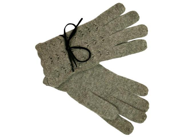 Gray Knit Winter Gloves With Bow For Women