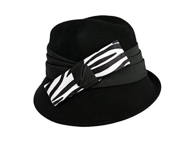 Black Fedora Hat With Zebra Print Bow