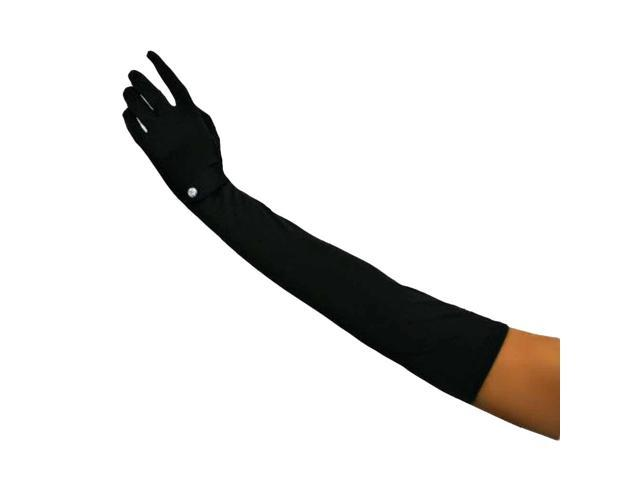 Extra Long Black Formal Gloves With Rhinestones