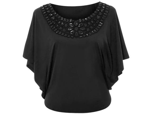 Black Womens Blouse With Sequin Scoop Neckline Size Medium