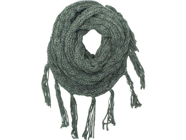 Gray Knit Infinity Scarf With Draping Fringe