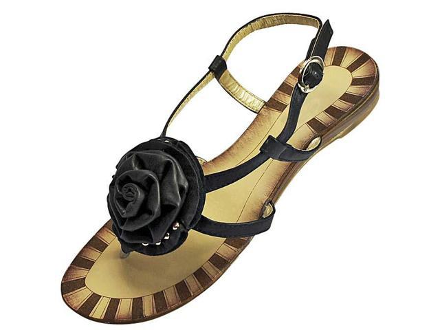 Womens Black Flat Thong Sandals With Large Rosette Size 6