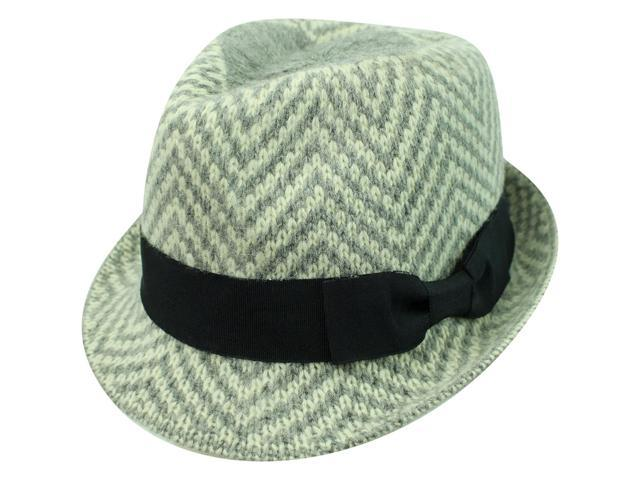 Grey Two-Tone Zigzag Angora Wool Fedora Hat