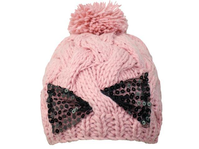 Pink Cable Knit Beanie Cap With Sequin Bow