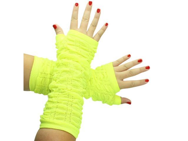 Yellow Soft Knit Scrunched Arm Warmers