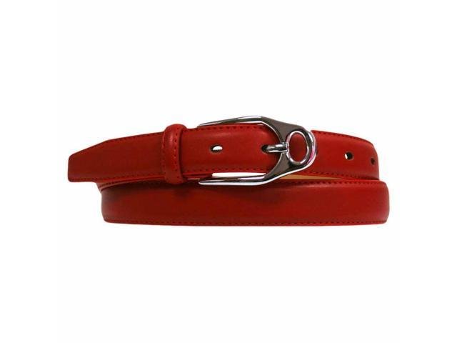 Red Skinny Leather Belt With Silver Buckle Size 36