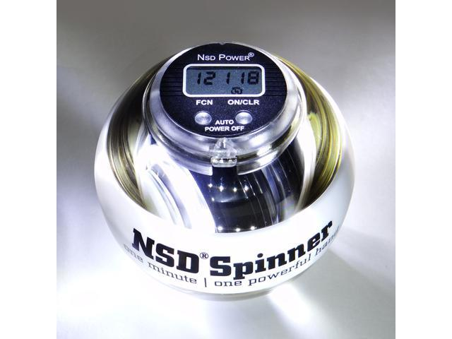 NSD Power PB-188LC Fusion Spinner Gyroscopic Wrist and Forearm Exerciser Featuring Digital LCD Counter & LED Light - White