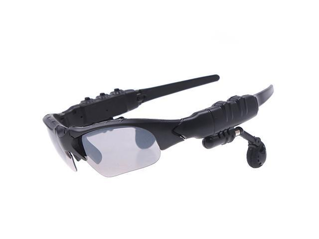 Black Sports Sunglasses with Bluetooth Headset for Cell Phone