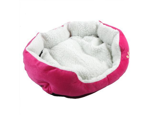 Pet Dog Nest Puppy Cat Soft Bed Fleece Warm House Kennel Plush Mat Rose