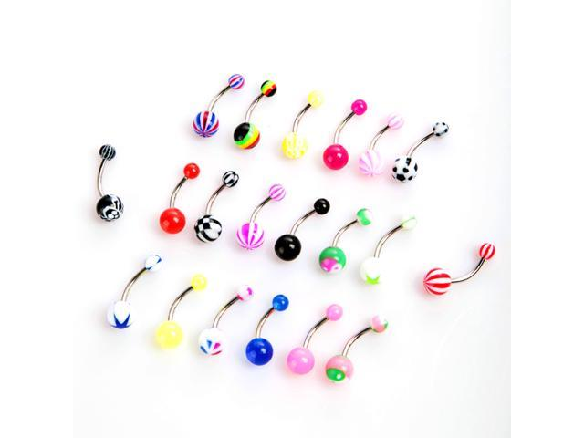 20pcs Colorful Stainless Steel Ball Barbell Curved Navel Belly Button Rings Bars Piercing