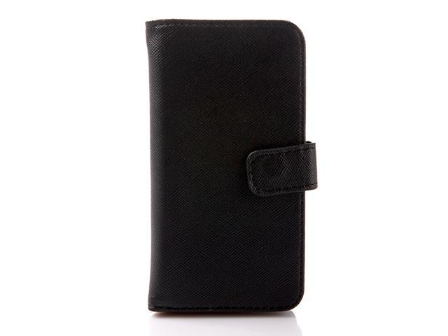Black Protective Flip Case Cover Skin PU Leather Card Wallet for iPhone 5