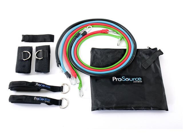ProSource 4 Stackable Latex Exercise Bands with Door Anchor and Carrying Bag