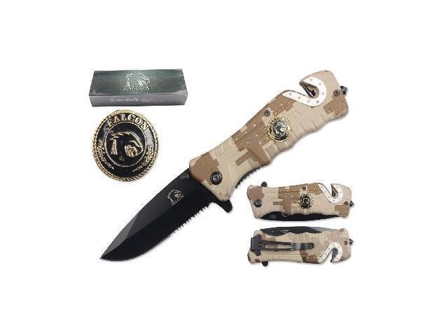 """Falcon 3 1/4"""" Blade Folding knife. Camo handle with falcon logo"""
