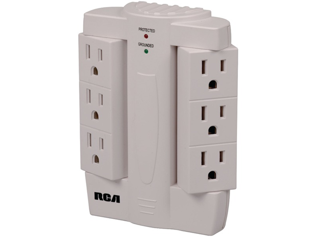 RCA PSWTS6R 6-Outlet Swivel Surge Protector