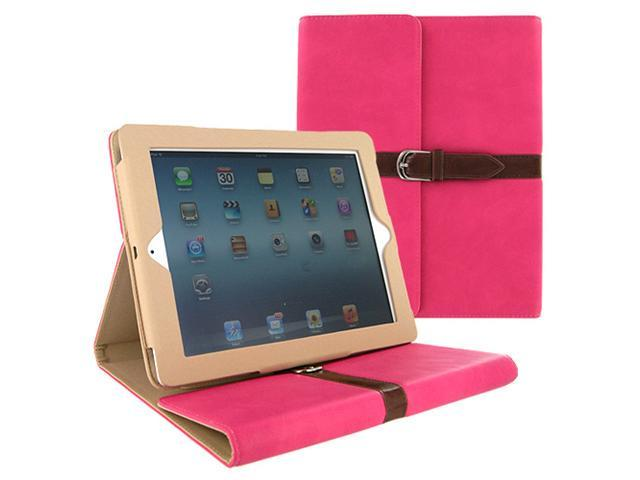 Luxury Leather Case Cover with Belt Strap Hot Pink for Apple New iPad 2 3 4 Gen