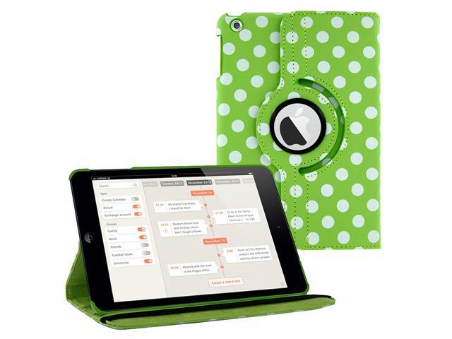 GREEN Polka Dots 360 Rotating PU Leather Case Cover Stand for Apple iPad Mini