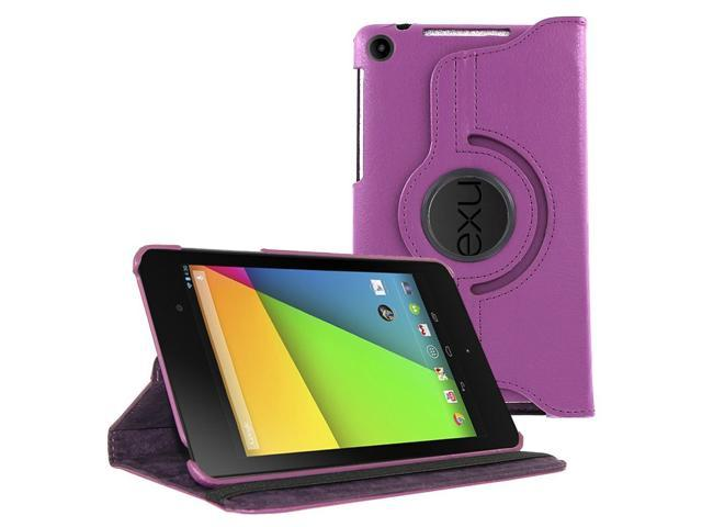 KIQ (TM) Purple 360 Rotating Leather Case Pouch Cover Skin Stand for Google Nexus 7 2nd Second Gen Generation