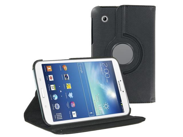 KIQ (TM) Black 360 Rotating Leather Case Cover Skin for Samsung Galaxy Tab 3 8