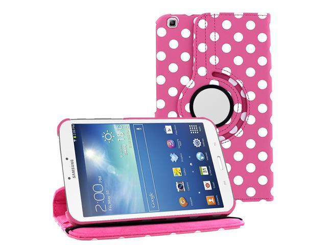 KIQ (TM) Polka Dots Pink 360 Rotating Leather Case Cover Skin for Samsung Galaxy Tab 3 8
