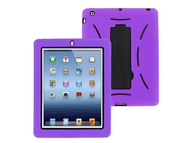 KIQ (TM) Black / Purple Heavy Duty 2-in-1 Silicone Plastic Hybrid Case for Apple New Ipad 2 3 4