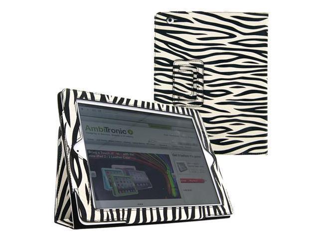 KIQ (TM) Zebra Design Portfolio Leather Case Pouch Cover Skin Stand for Apple iPad Mini