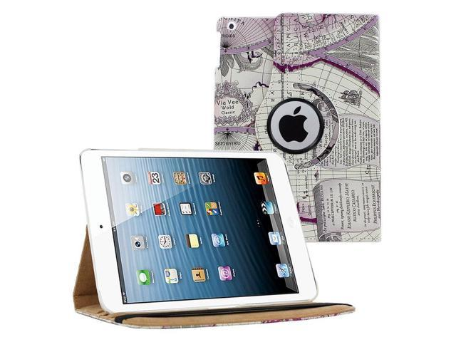 KIQ (TM) Purple Map 360 Rotating Leather Case Pouch Cover Skin Stand for Apple iPad Air 5th Gen