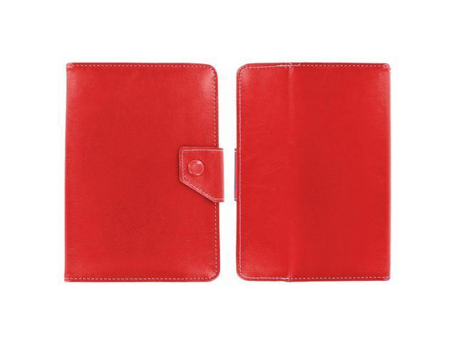 KIQ (TM) RED Adjustable 4 Corners Luxury Leather Case Cover Skin for Verizon Ellipsis 7