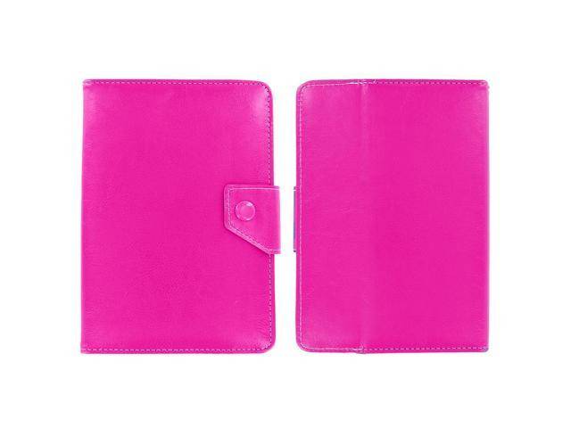 KIQ (TM) HOT PINK Adjustable 4 Corners Leather Case Cover Skin for Barnes and Noble NOOK HD 7""
