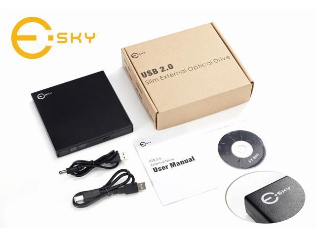 Esky USB 2.0 Slim Portable External Rewriteable 24x CD and 8x DVD +/- RW Drive, Read/write DVD Burner for HP Mini 1010NR ...
