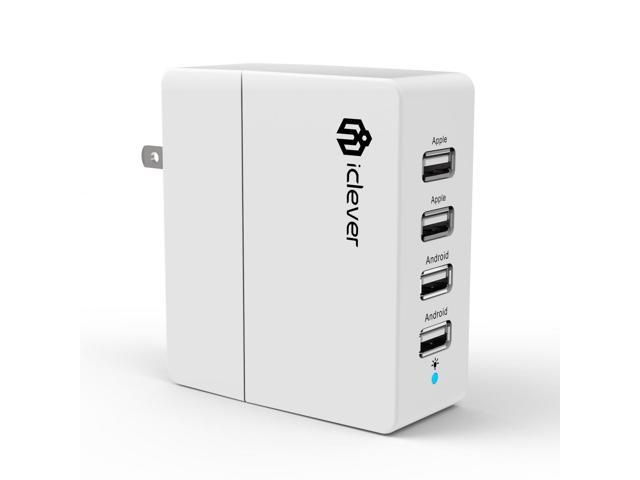 iClever 30W/5V 6A 4-Port USB Wall charger/Travel Charger AC power adapter for iPhone 6s, 6s plus 5s, 5c,5, 4s, 4&#59; iPad 5, ...