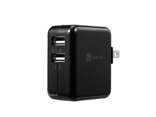 iClever USB Wall Charger Dual Port 3.1A 15W High Output  Portable Rapid Travel Charger for iPhone, Samsung Galaxy, Android, iPad, Kindle, Note, HTC One, iPod and Most USB-Powered Devices - Black