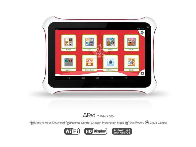 """Apad 7"""" Tablet PC - Android 4.2, 8G, Wifi, Dual Camera - for 2-12yr Kids"""