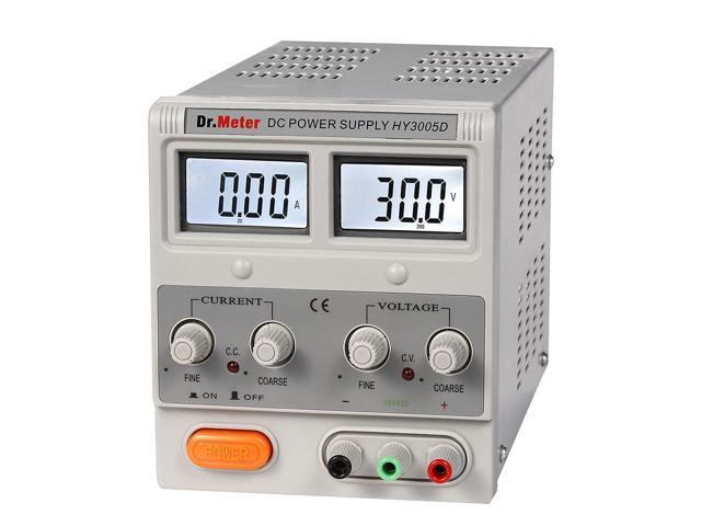 Dr.Meter HY3005D Variable Linear Single-Output DC Power Supply - 0-30V @ 0-5A (Alligator to Banana and AC Power Cable Included)