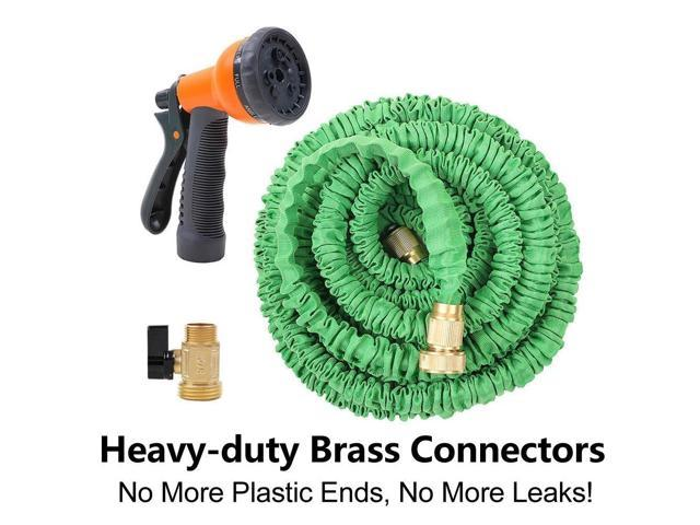 Ohuhu 50 Ft Expandable Garden Hose with Spray Nozzle Green