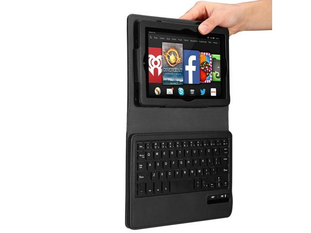 Kindle Fire HD 7 4th Gen Tablet 2014 model Leather Case Cover + Wireless Bluetooth Keyboard