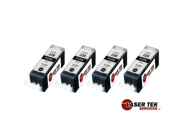 Laser Tek Services® Black Ink Cartridge 4 Pack Canon PGI-220BK PIXMA iP3600, iP4600, iP4700, MP560, MP620