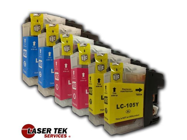 Brother LC105 6-Set 2C 2M 2Y Compatible Super High Yield Ink Cartridges MFC-J4310DW MFC-J4410DW MFC-J4510DW MFC-J4610DW