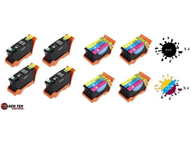 Laser Tek Services® 8 Pack Dell Series 21 Replacement Inks (4 Black, 4 Color) for Dell Series 21, Series 22, Series 23