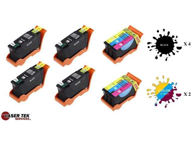 Laser Tek Services® 6 Pack Dell Series 21 Replacement Inks (4 Black, 2 Color) for Dell Series 21, Series 22, Series 23