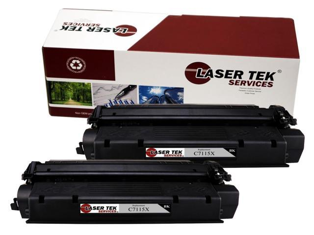 Laser Tek Services® 2 Pack HP C7115X (15X) High Yield Compatible Replacement Black Toner Cartridge