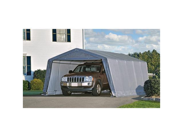 Shelterlogic 12208 Peak Style Shelter With 1-3/8 6-Rib Frame & Grey Cover