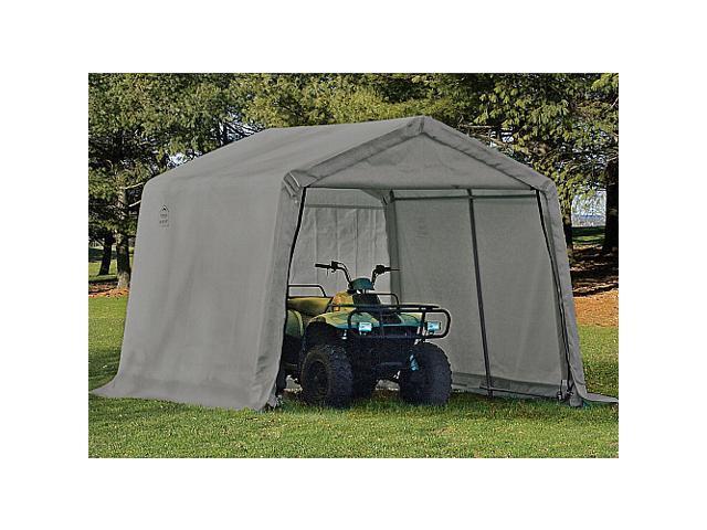 ShelterLogic 70333 10-10-8 Peak Style Storage Shed, 1-.38 in.  Frame, Grey Cover